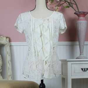 VanHeusen Lace Ruffle Top Size SP
